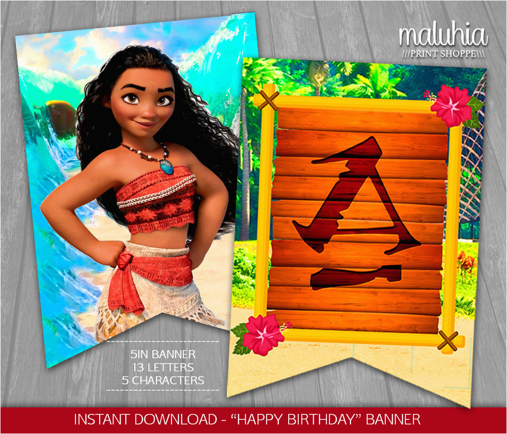 moana birthday banner instant download