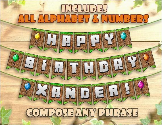 minecraft birthday banner party