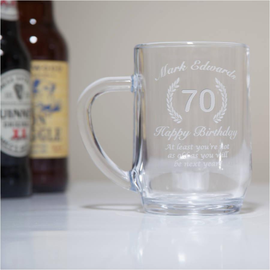 engraved 70th birthday glass tankard in box