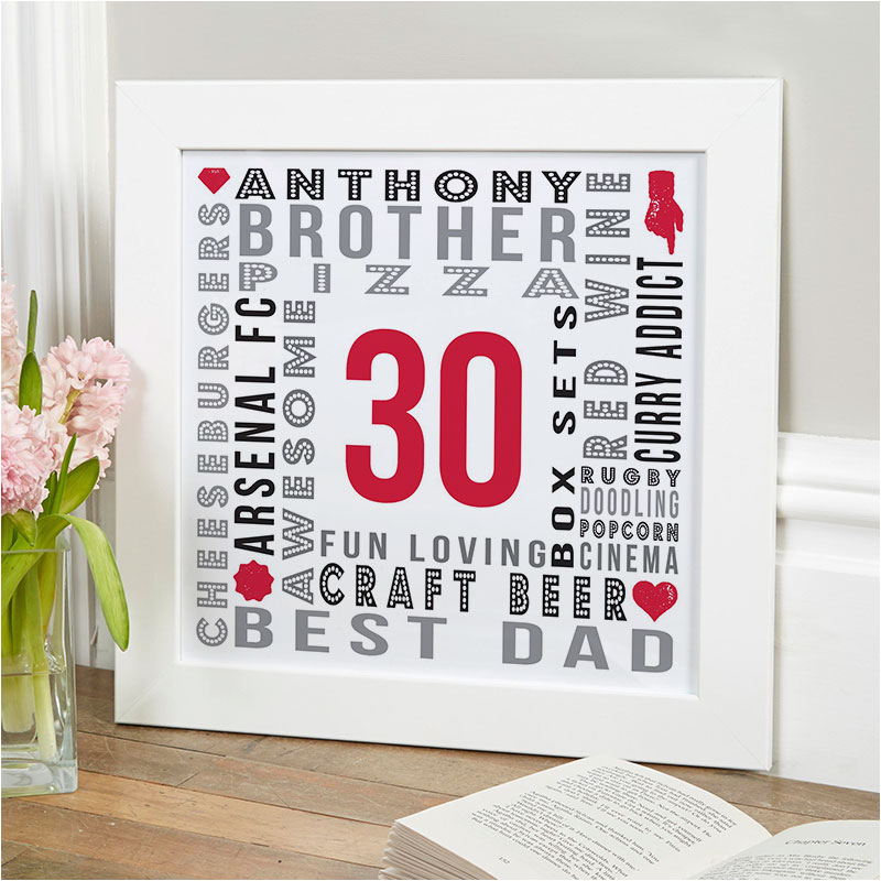 30th birthday gift personalised age print for men