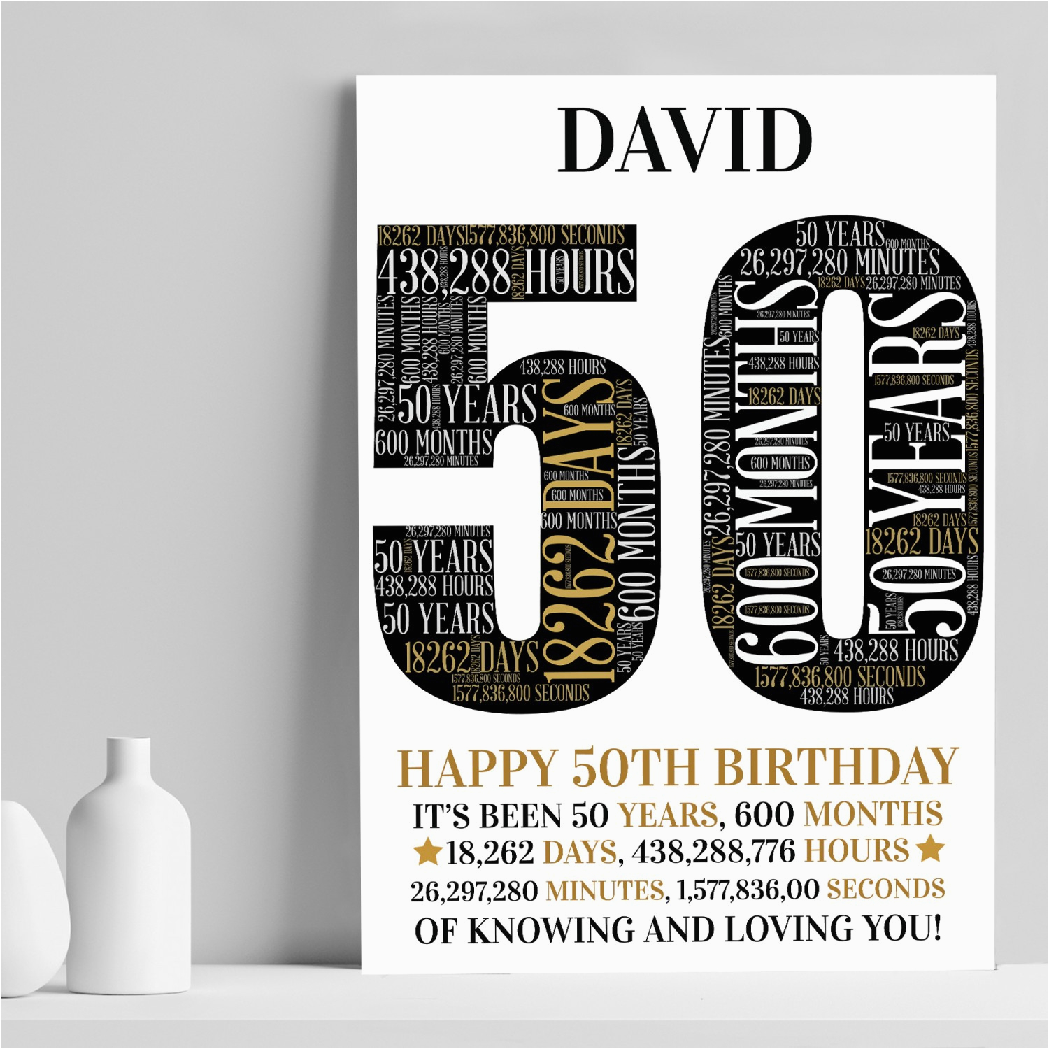 personalised 50th birthday gift 50th word art print 50th gifts