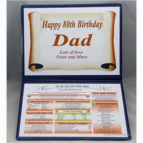 personalised 80th birthday gift 1937 the day you were born keepsake b01e0imxf2
