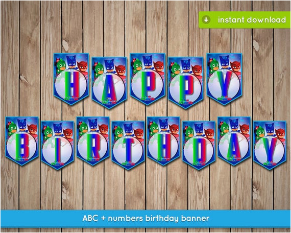 pj masks banner printable happy birthday
