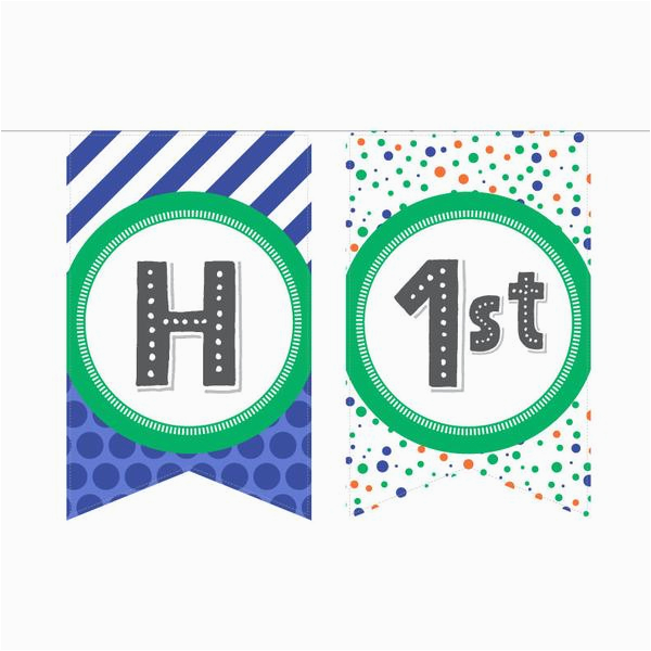 Printable Happy 13th Birthday Banners Printable Birthday Banner In Blue Green Especially Paper