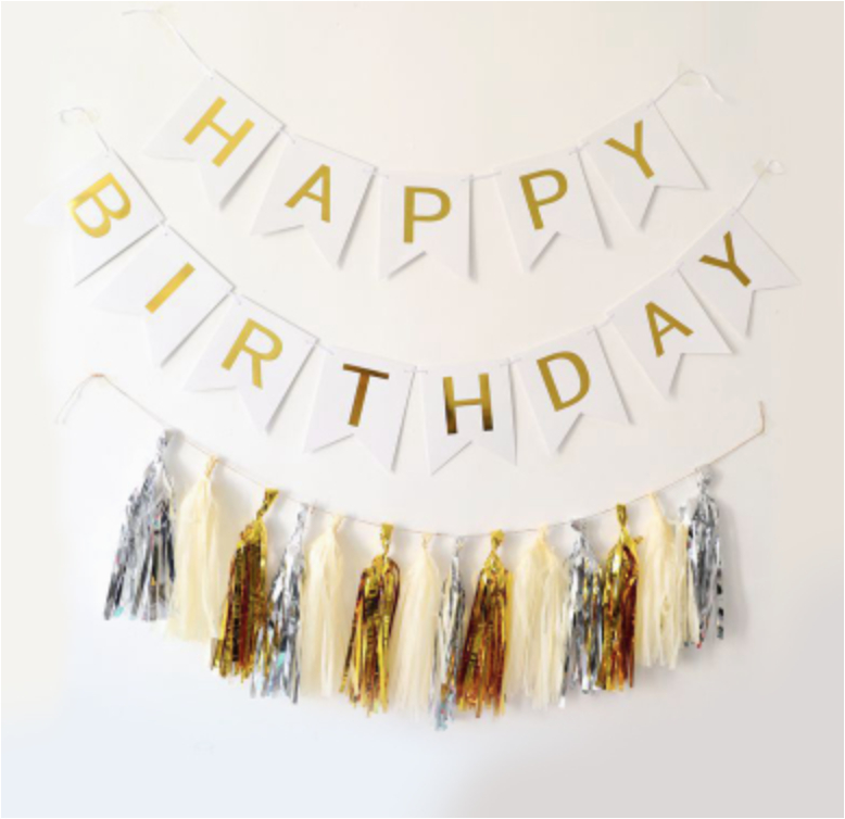 white happy birthday banner with 3 tone tassel diy package