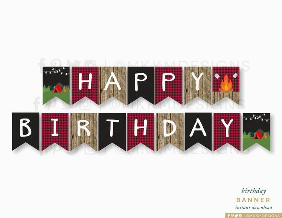 camping birthday banner instant download