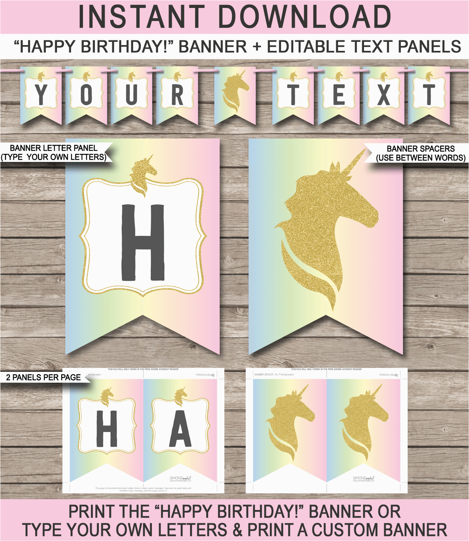 unicorn pennant banner