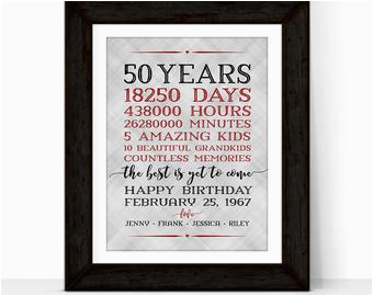 Special 50th Birthday Gift Ideas for Husband 50th Anniversary Gifts for Grandparents 50 Year Anniversary