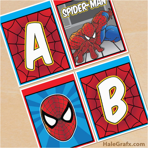 free printable spider man alphabet banner pack