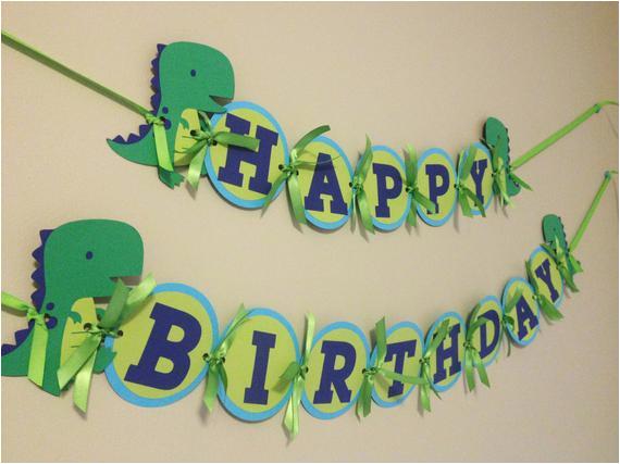 boys birthday banner dinosaur birthday