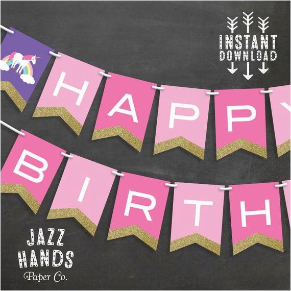 unicorn birthday banner template diy
