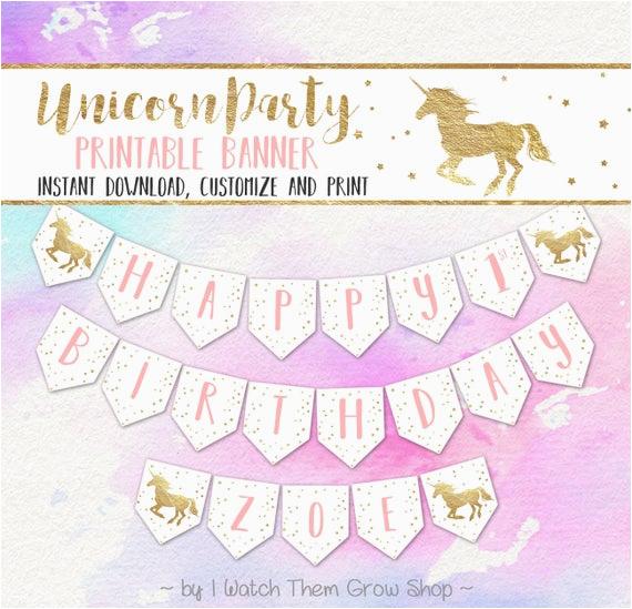 unicorn party banner editableprintable