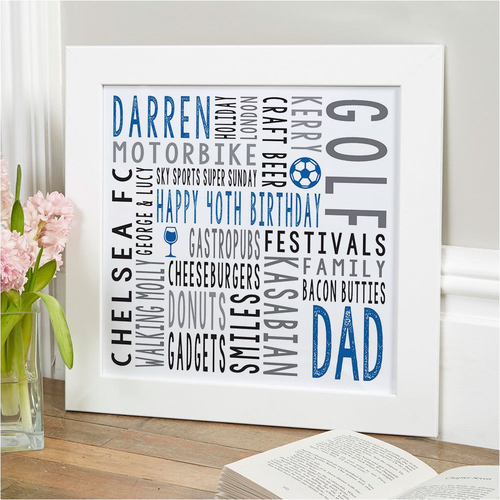 40th birthday gift for him personalised square word art print