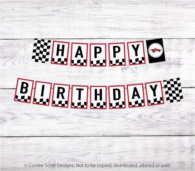 race car printable happy birthday banner