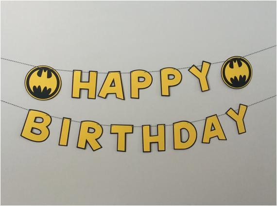 batman black yellow happy birthday banner 4