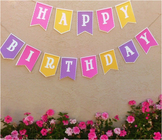 yellow purple pink happy birthday banner