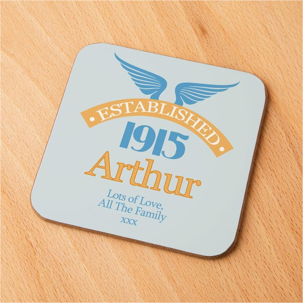 100th Birthday Presents for Him Personalised 100th Birthday Est Coaster forever Bespoke