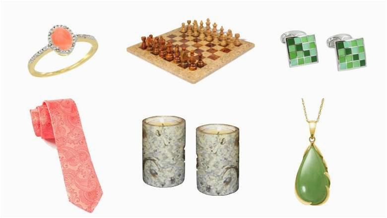 top best 35th wedding anniversary gift ideas men women coral jade emerald jewlery