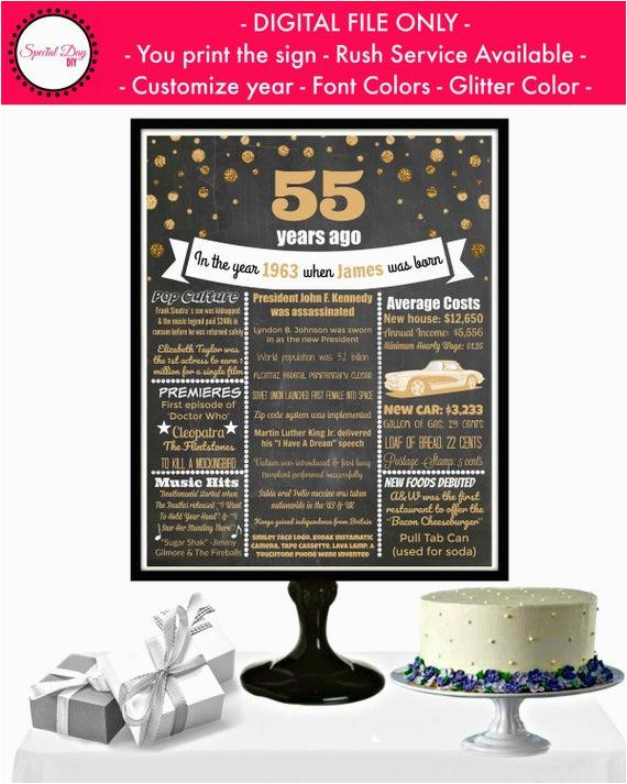 55th birthday chalkboard poster 55