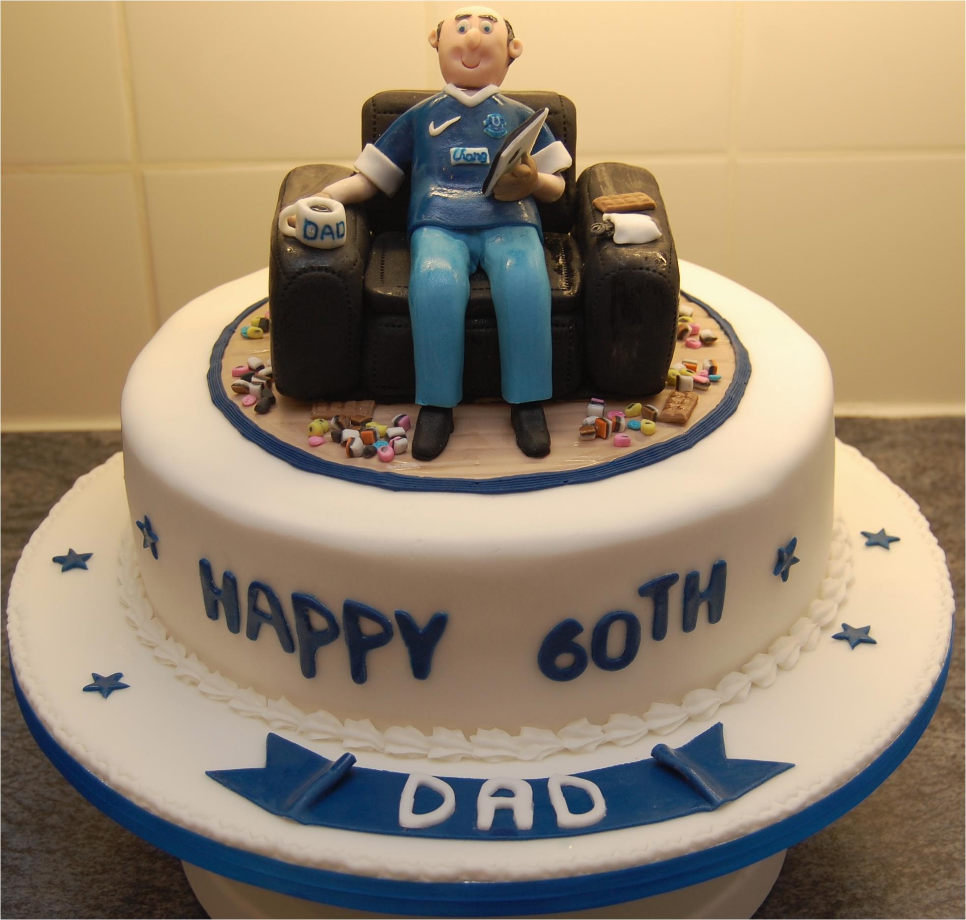 60th birthday cake everton fan sat in an armchair