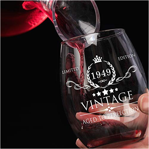 1949 70th birthday gifts for women and men wine glass vintage funny anniversary gift ideas for mom dad husband wife 70 years gifts party favors decorations for him or her 15oz