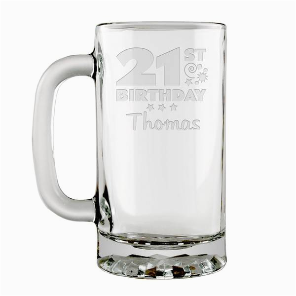 personalized 21st birthday glass beer mug p8688
