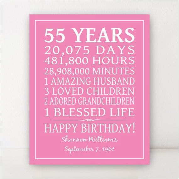 55th birthday gift 55 year birthday sign