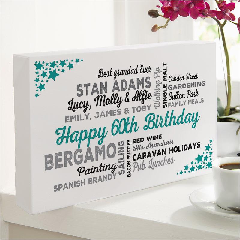 60th birthday gift typographic art print for him