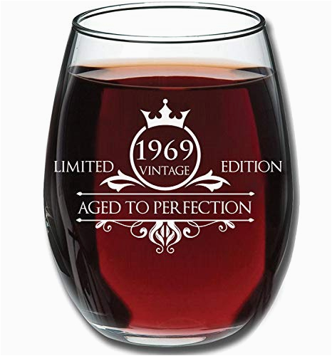 funny vintage aged to perfection 1969 50th birthday gifts for women and men wine glass anniversary gift ideas for mom dad husband wife 50 year old party supplies decorations for him her