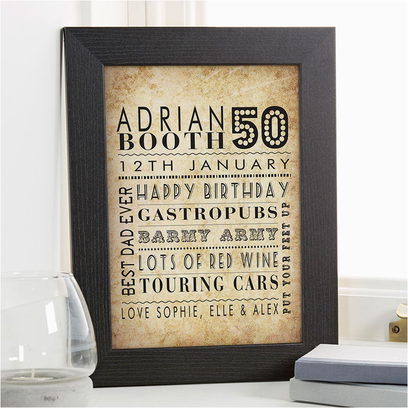 50th birthday gift idea personalised age print for him