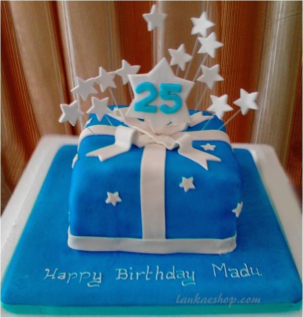 25th birthday cake blue star theme p 4452