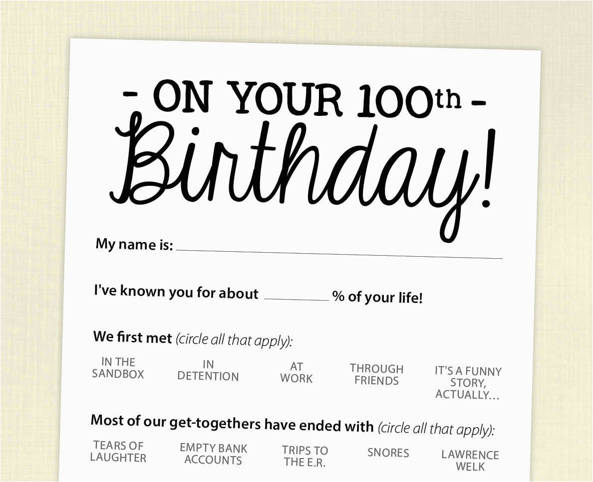 100th birthday party game card funny