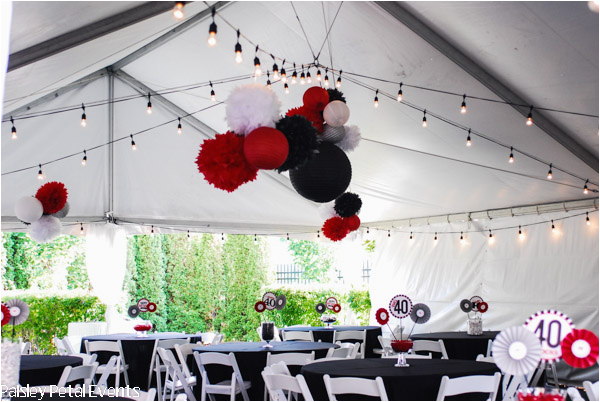 black red and silver 40th birthday party for him b660d72c455b259f