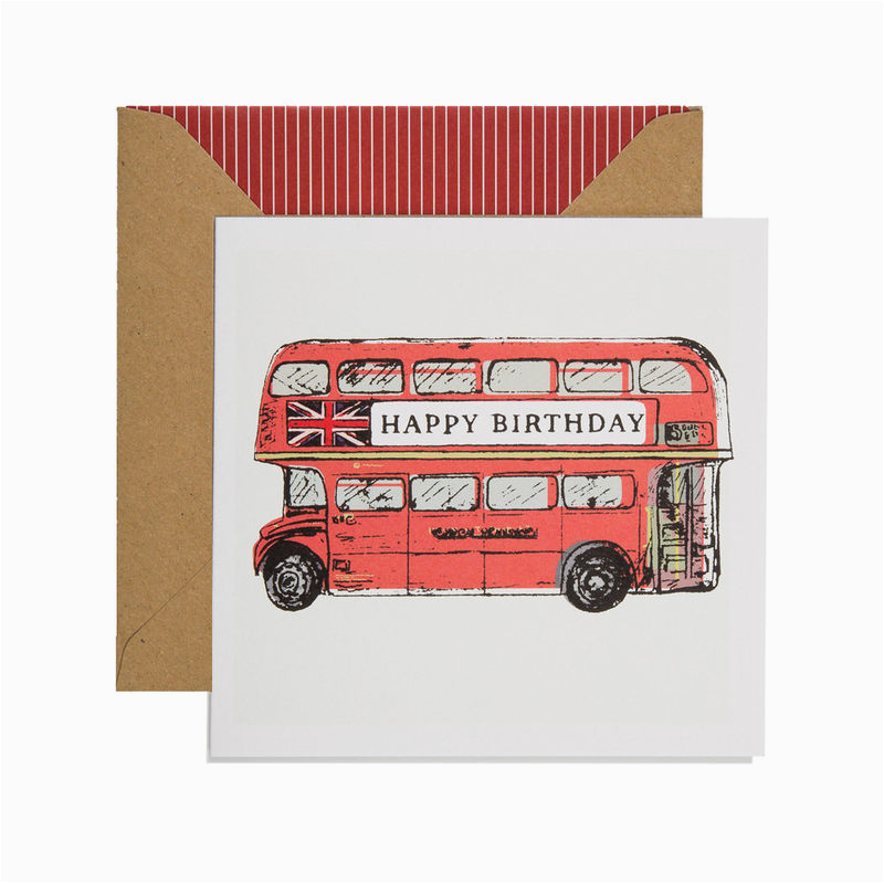hand printed birthday bus birthday card