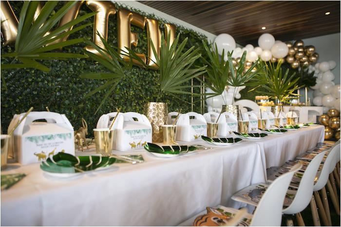 gold safari 1st birthday party