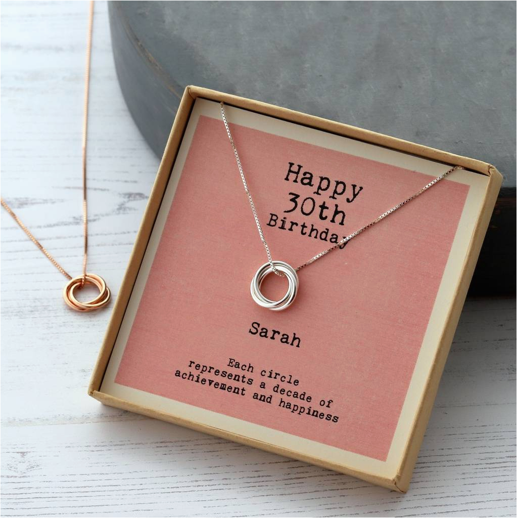 sterling silver happy 30th birthday necklace