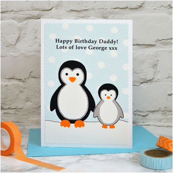 daddy grandad penguins personalised birthday card