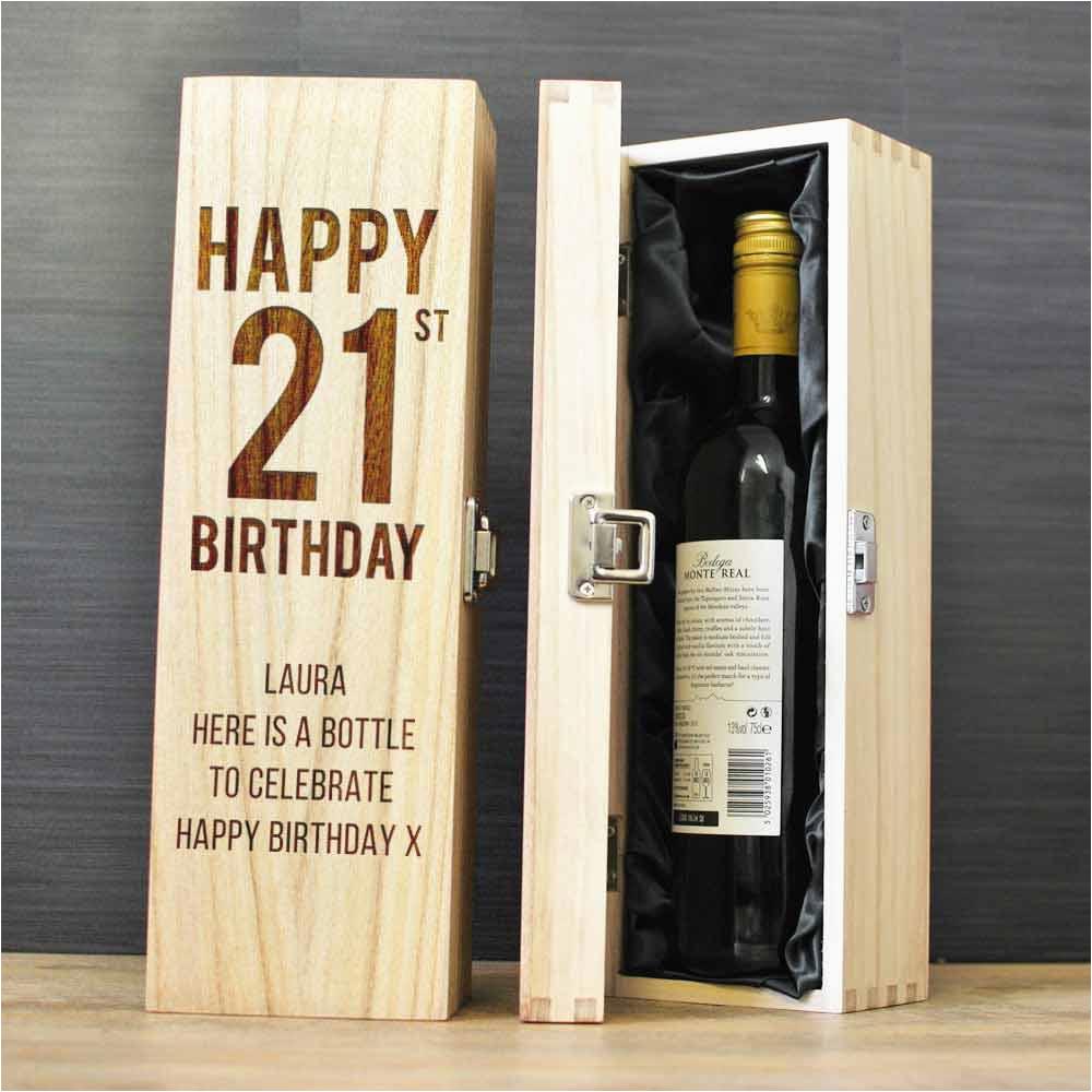 happy 21st birthday personalised wine box p 1583