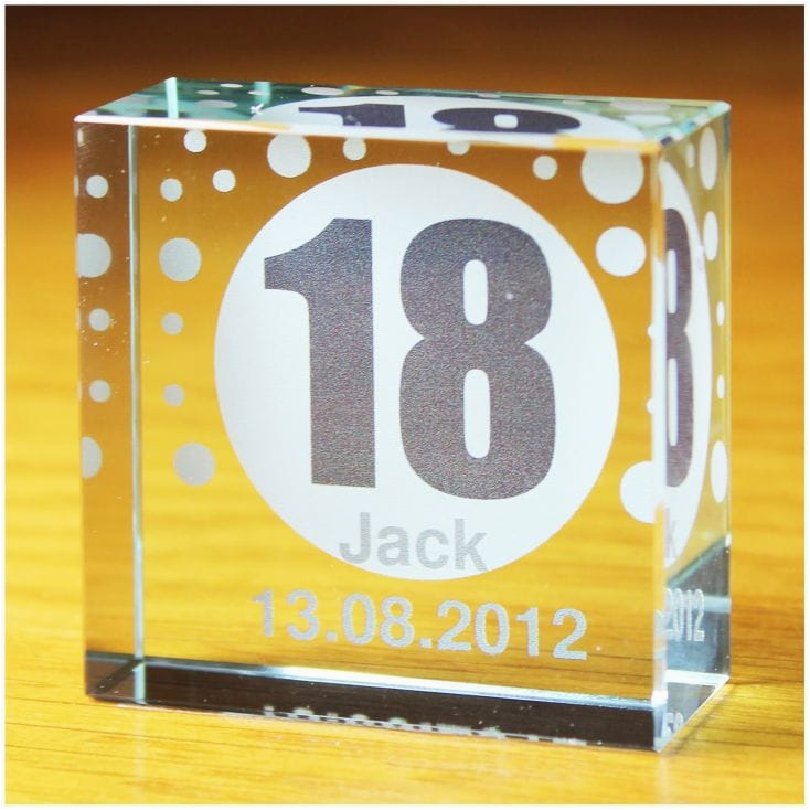18th birthday personalised glass token
