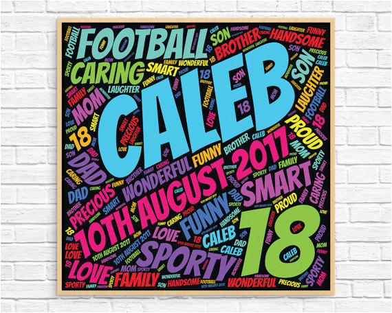 personalized 18th birthday gift word art
