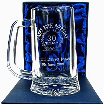Personalised 30th Birthday Ideas for Him 30th Birthday Engraved Glass Tankard Personalised 30th