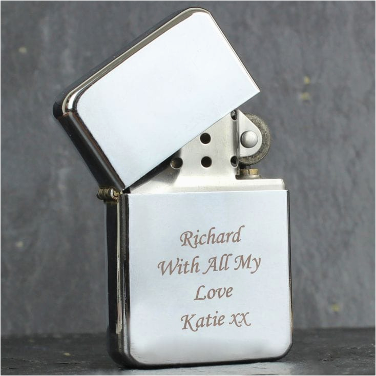 personalised silver plated petrol lighter