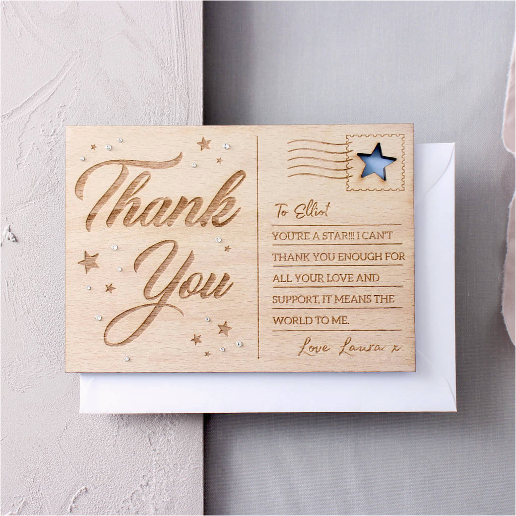 personalised wooden thank you post card