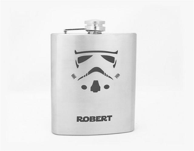 storm trooper personalized flask for groomsmen star wars gift for him best man gift groomsmen flask mens birthday gift engraved flask