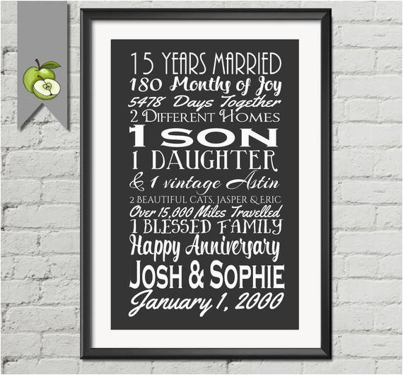 15th wedding anniversary subway print