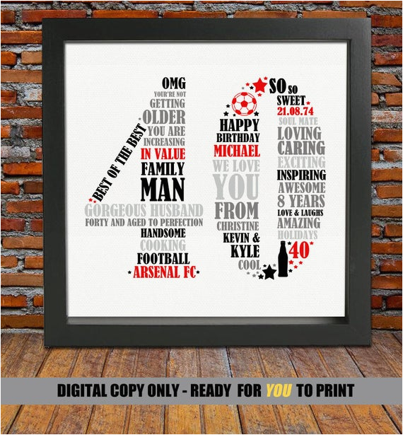 Unique Birthday Ideas for Him Personalized 40th Birthday Gift for Him 40th Birthday 40th