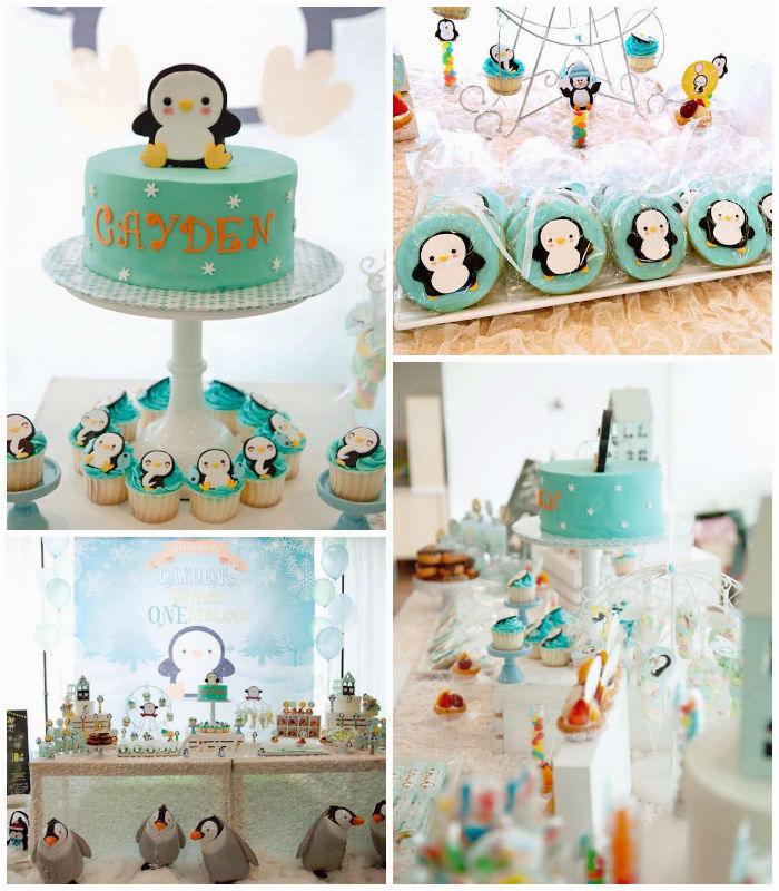 winter onederland penguin 1st birthday party