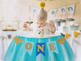 1 Year Baby Birthday Decoration Fengrise Baby First Birthday Blue Pink Chair Banner One