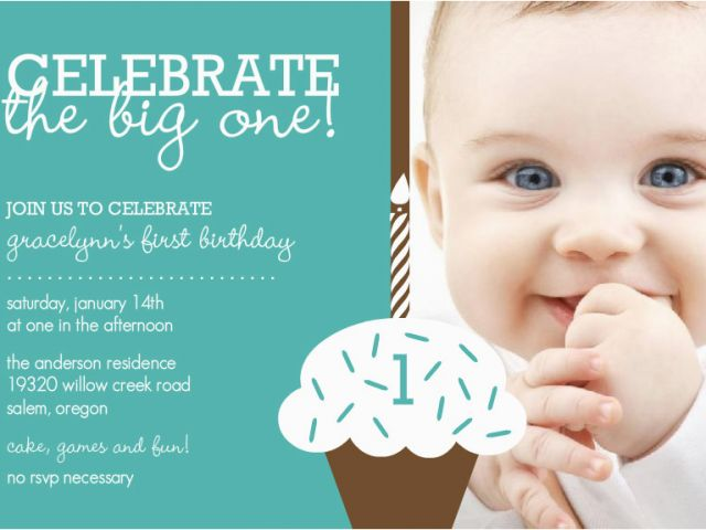 1 Year Old Birthday Invitation Card Sample Baby Boy First Birthday
