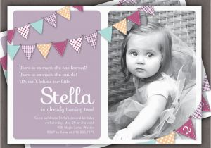 1 Year Old Birthday Invitation Card Sample Bunting Photo Printable Invite 2